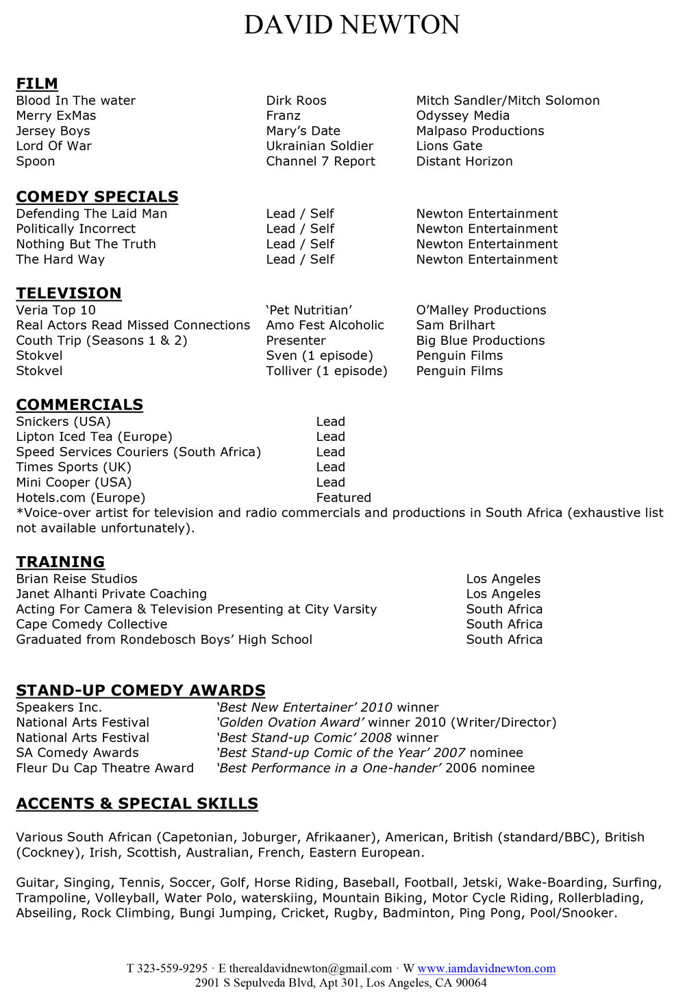DAVID NEWTON ACTING RESUME 2017