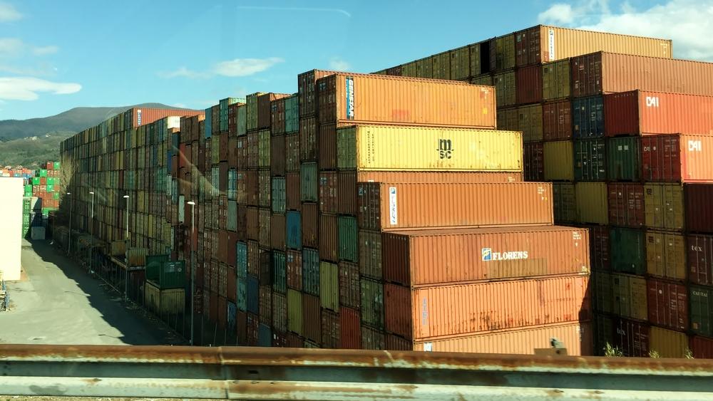 La Spezia. Some colourful crates.