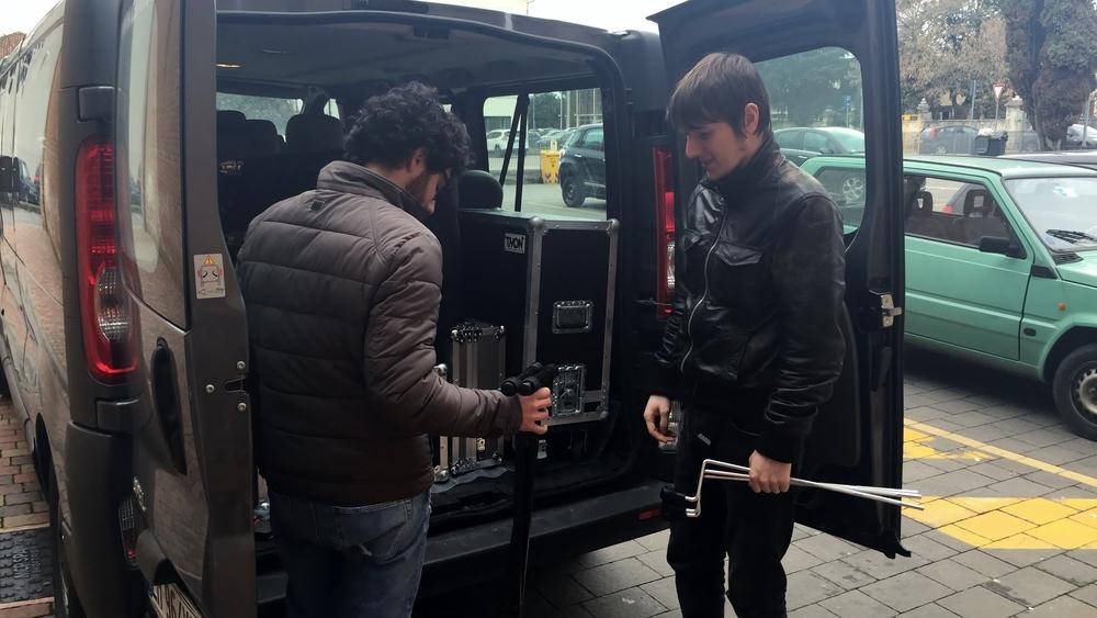 Unpacking the van in Montebelluna, the province of Treviso.