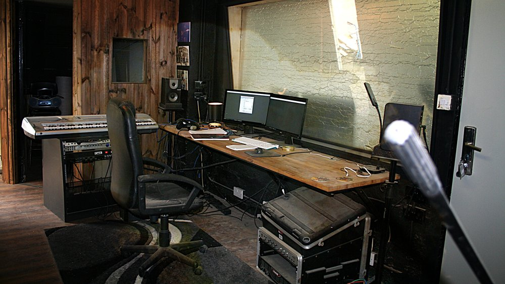 How the studio's Control Room looks at the minute.