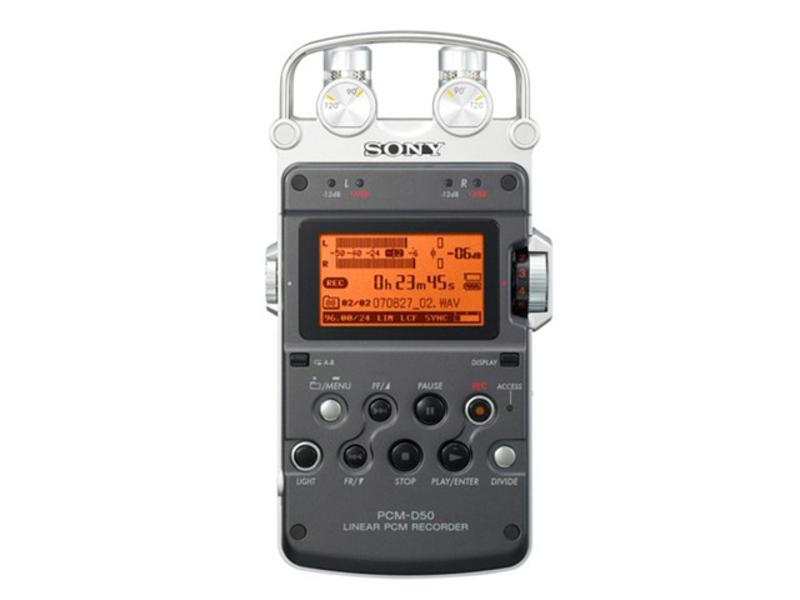 Sony PCM D-50   Small Stereo 2-track Digital Audio Recorder with In-Built Microphones.