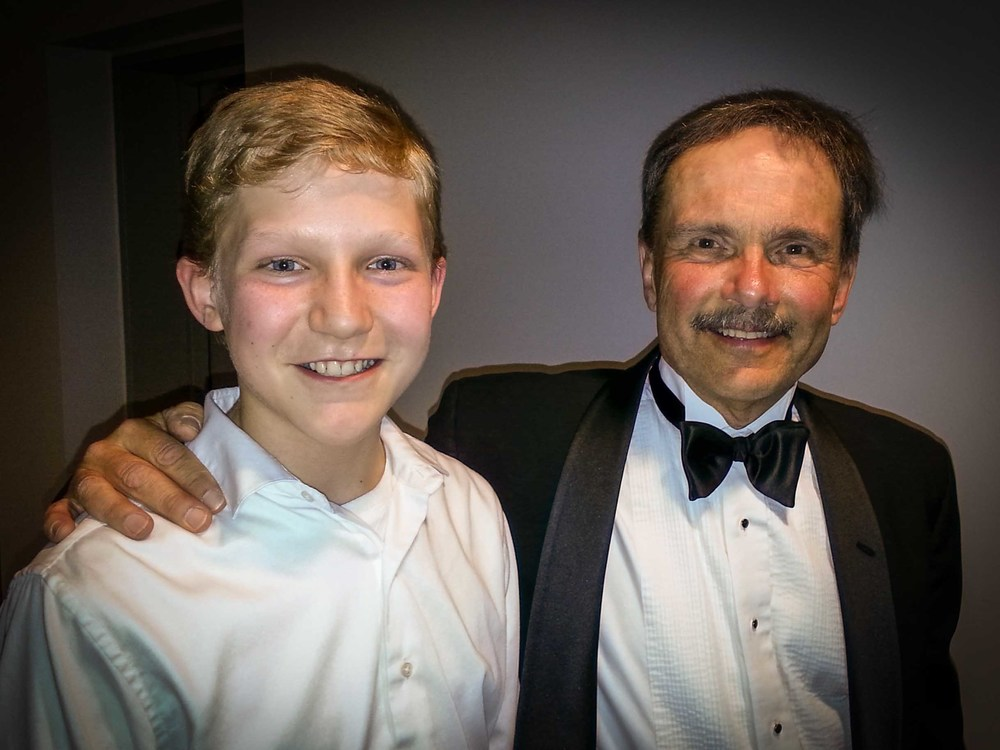 Silas with his orchestra director, Mr Schilke!
