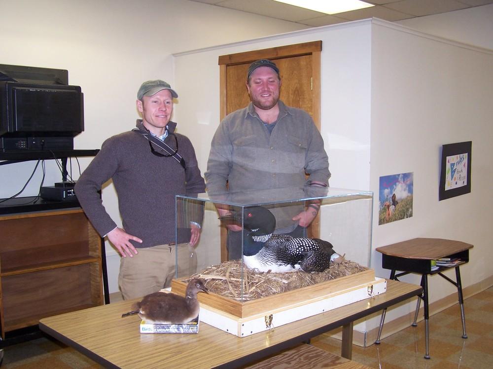 Patrick Keenan of BioDiversity and  Alex Dalton-USM student- BRI intern.       Photo by Lyn Jellison.
