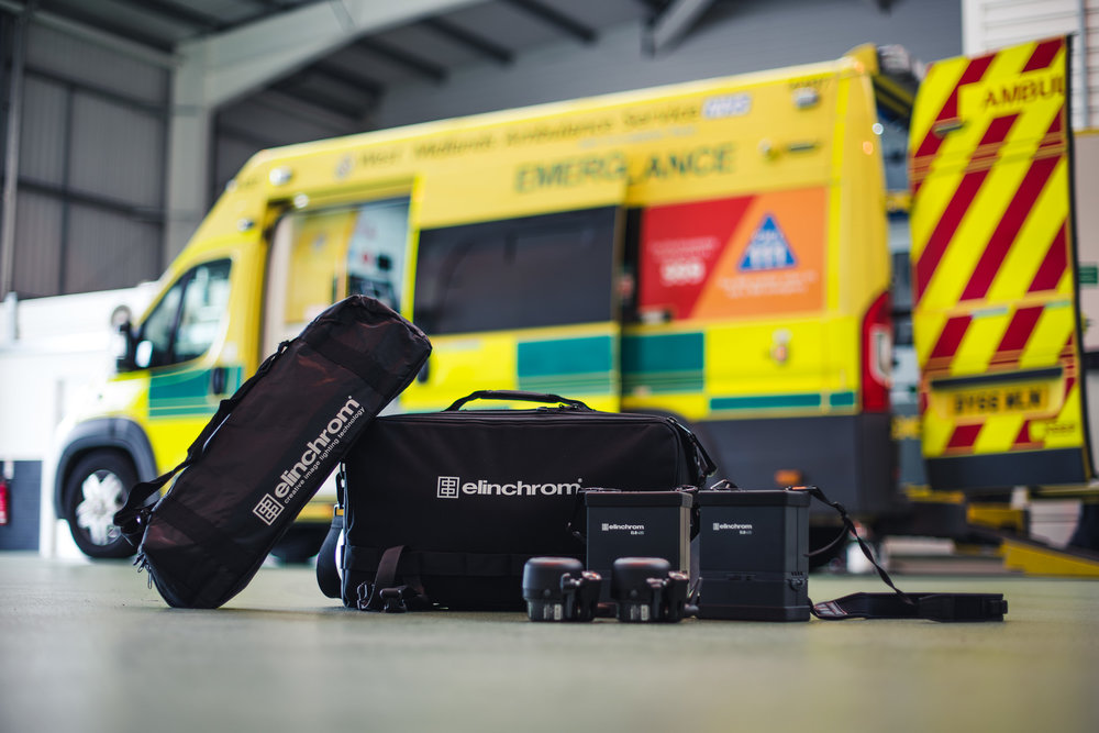 Elinchrom ELB400 Kit w/Quadra Pro heads & a set of Elinchrom portable stands.