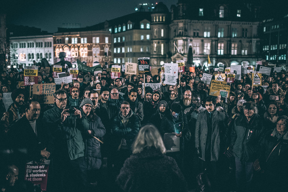 Protest in Victoria Square, Birmingham.
