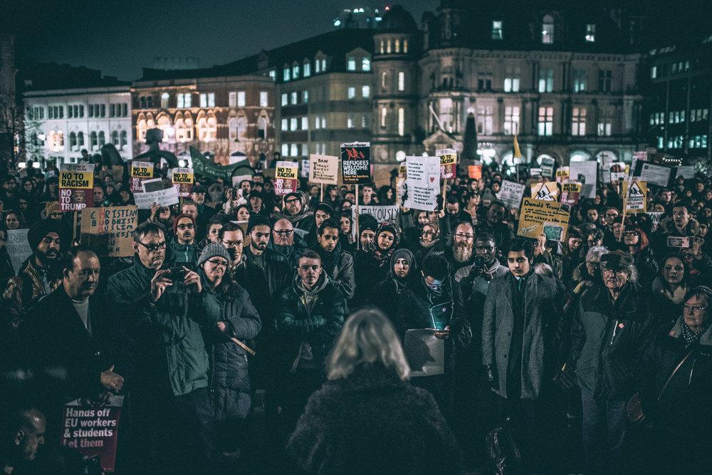 Protest in Victoria Square, Birmingham.