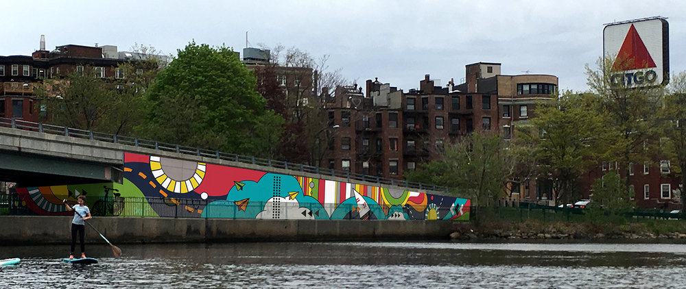 Mural Art commission for  Now+There  on the Charles  River Esplanade. Work starts the last two weeks in August 2017.   Click for more info.