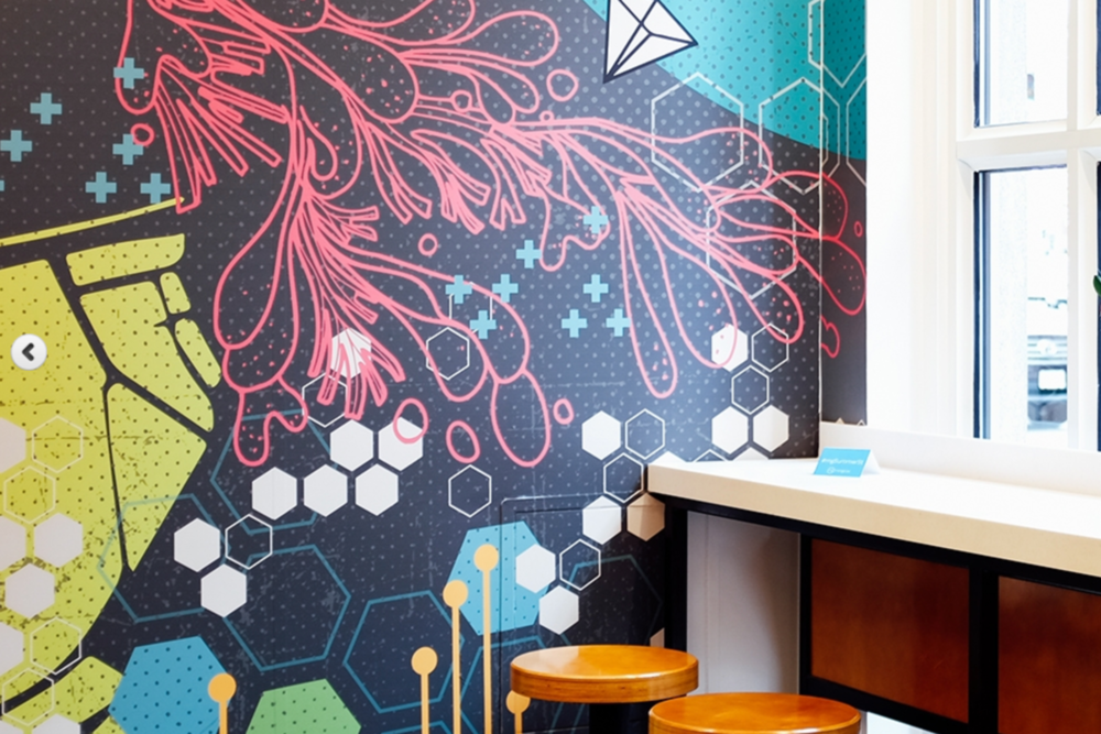 Check out my new mural at Honeygrow's new Minigrow Summer st. location in Boston! Photo courtesy of Minigrow.