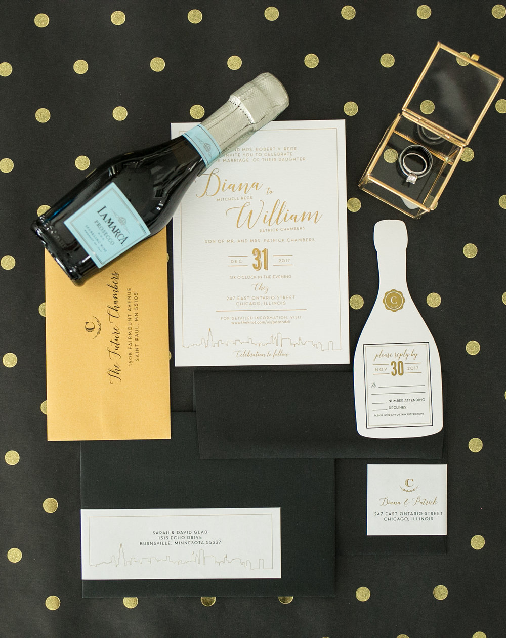 White and Gold Wedding Invitations Photography by Chelsea Bolling Minneapolis