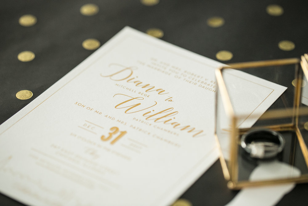 White and Gold Wedding Invitations photographed by Chelsea Bolling Photography Minneapolis Minnesota