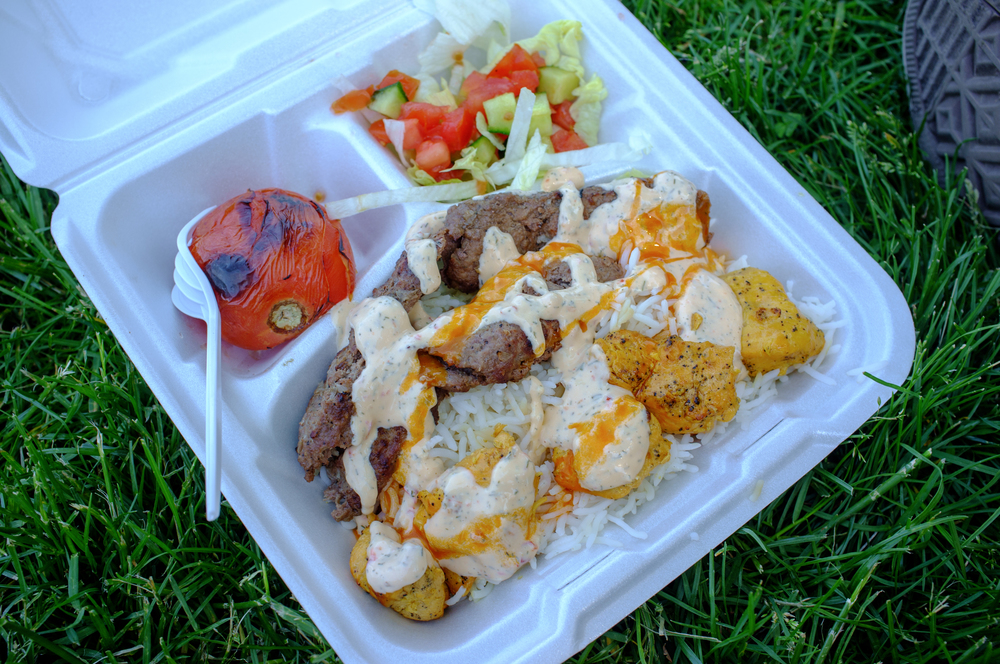 Middle Eastern food truck lunch