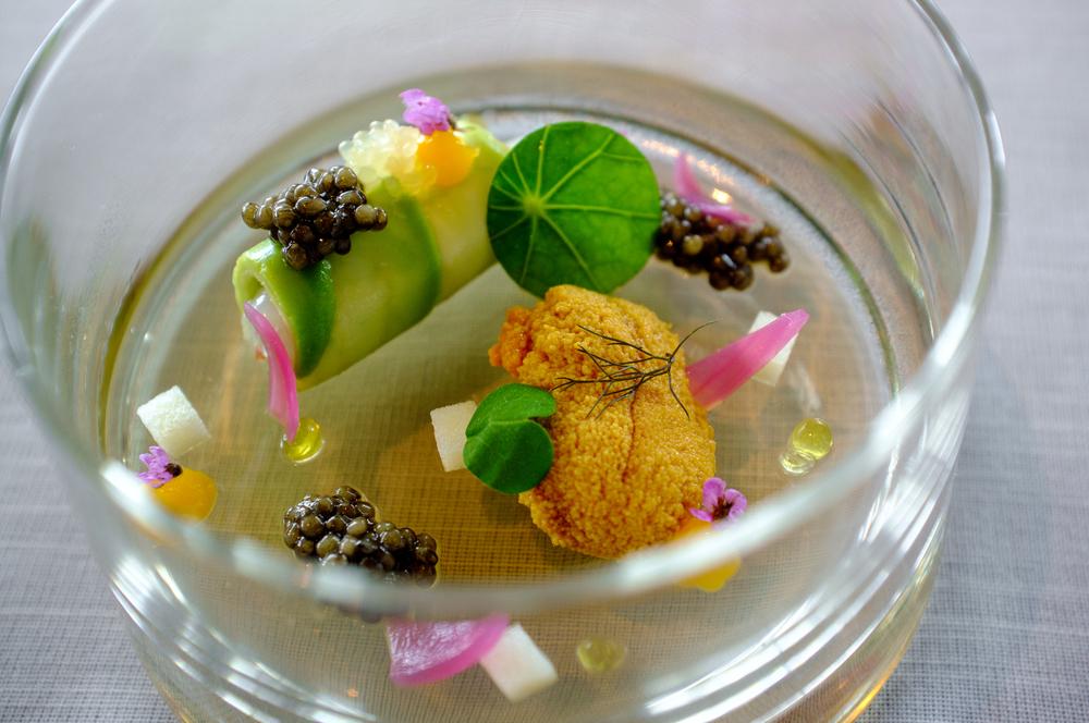 Langoustine Canneloni, 'Oscietra' caviar, Hokkaido Uni
