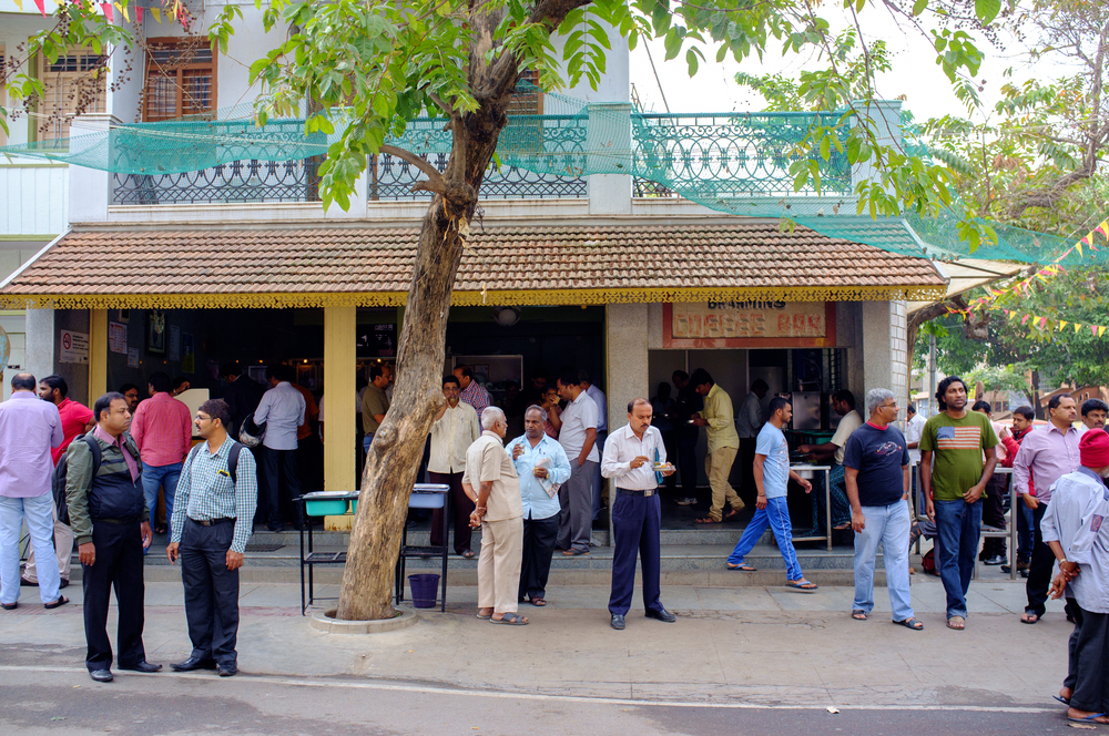 Morning scene outside Brahmin's Coffee Bar in Basavanagudi