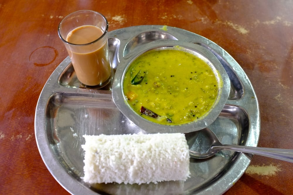 Puttu  and  chai  for breakfast at Arya Bhavan in Kozhikode, Kerala