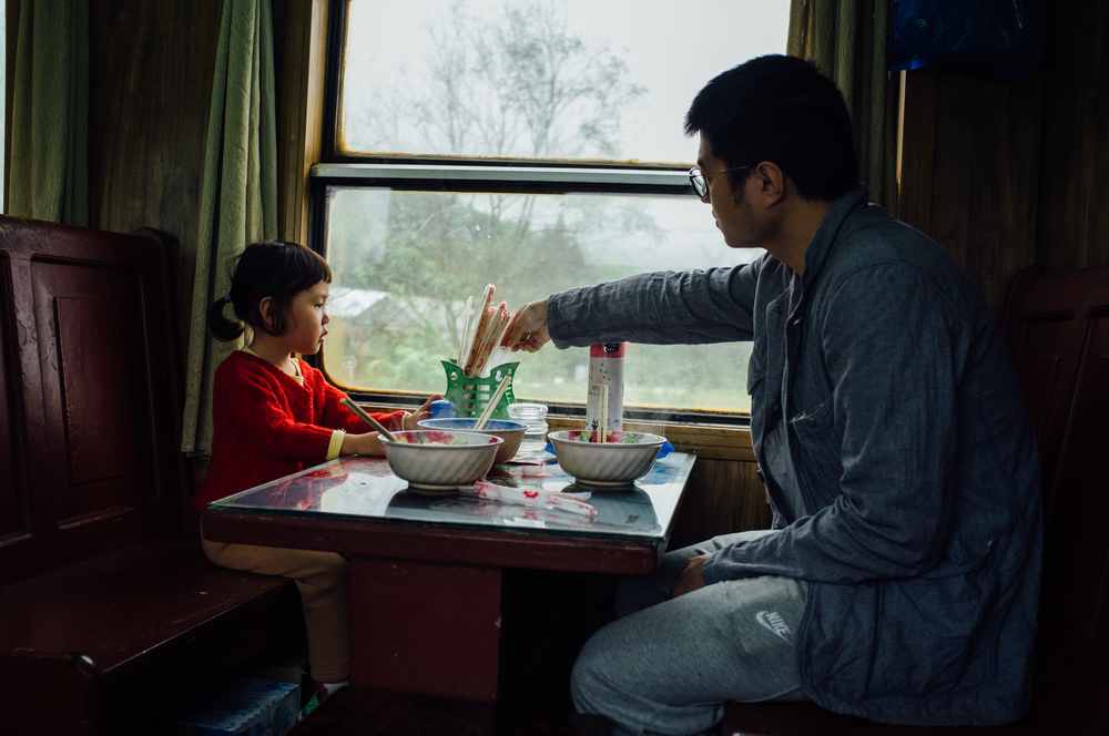 Morning in the cafe car