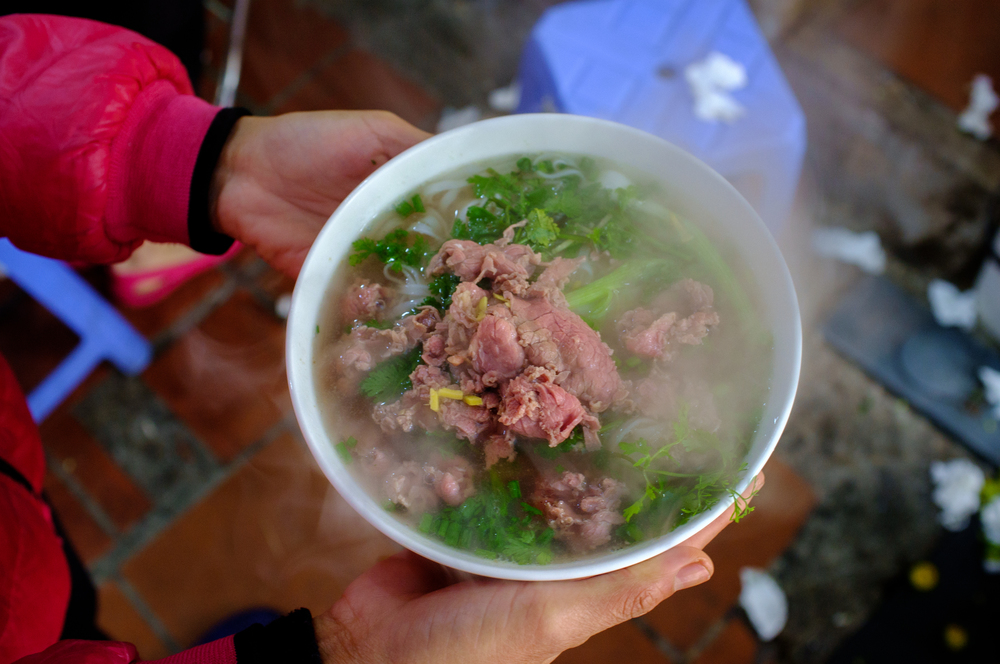 Our first steaming bowl of phở was a big hit