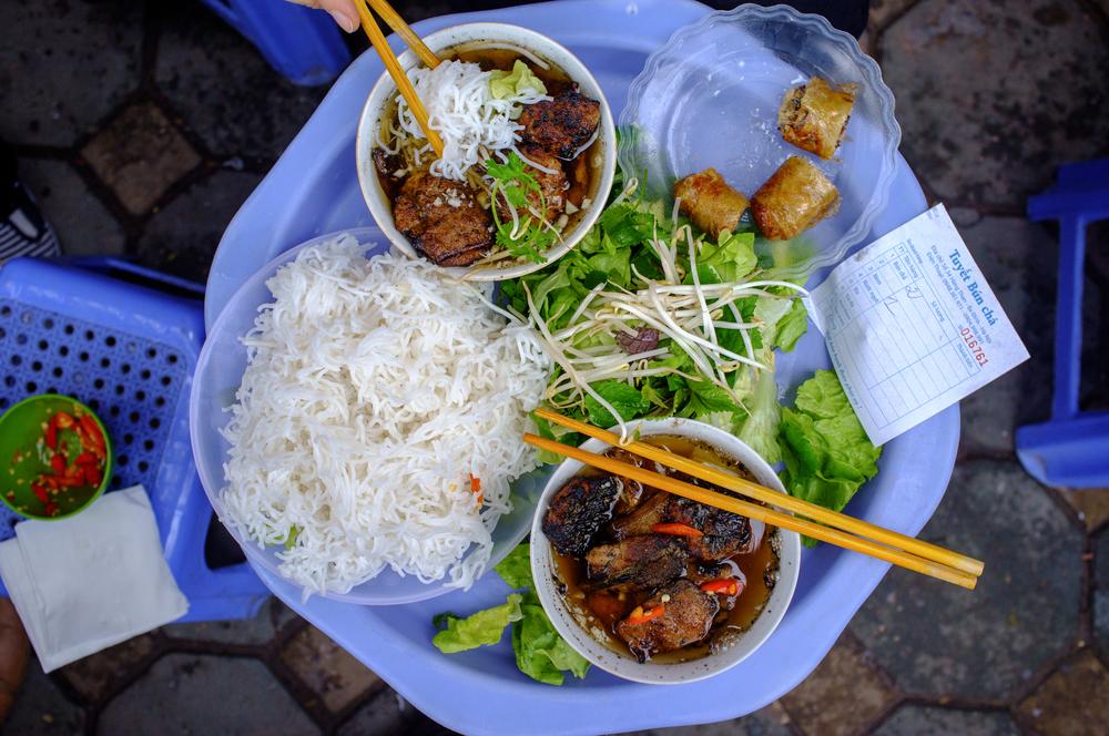 Lunch for two: bún chả  and  nem cua bể  at  Bún Chả Tuyết