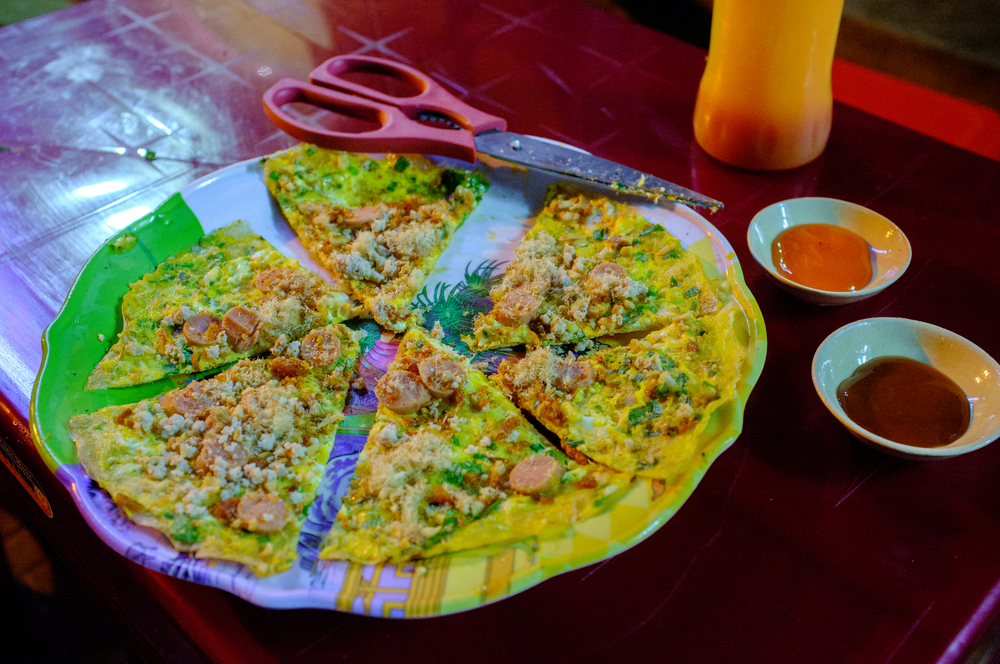 "Bánh tráng nướng,  also known as  ""Vietnamese Pizza"""