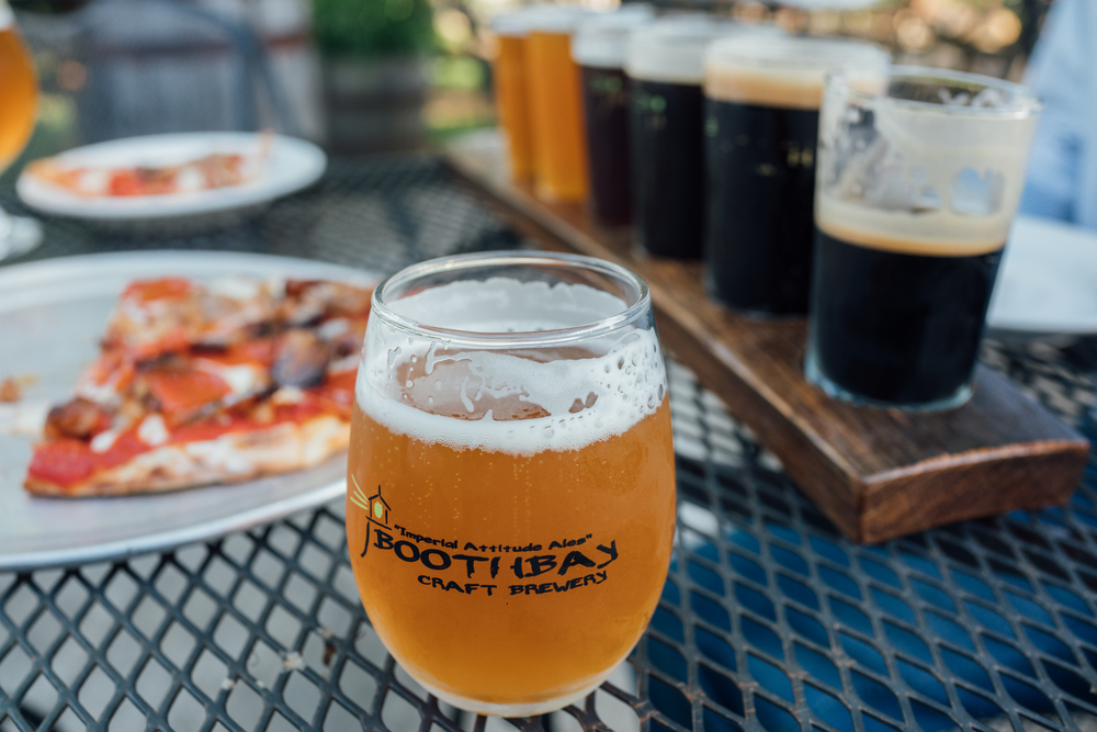 Boothbay Craft Brewery beer alongside wood fired pizza
