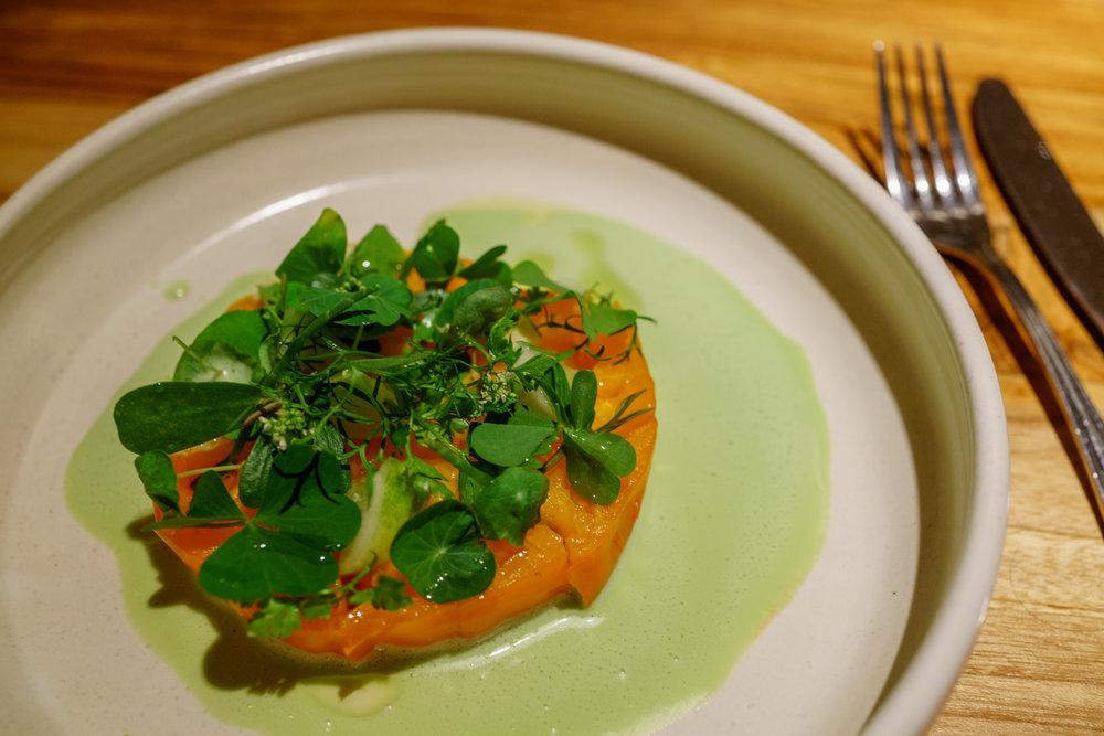 Tomato, Leche de Tigre, Herbs