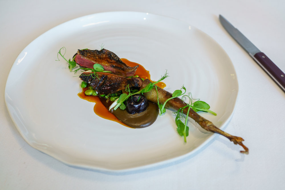 """BBQ"" pigeon Fabien Deneour, petit pois, roasted porcini and pickled cherry"