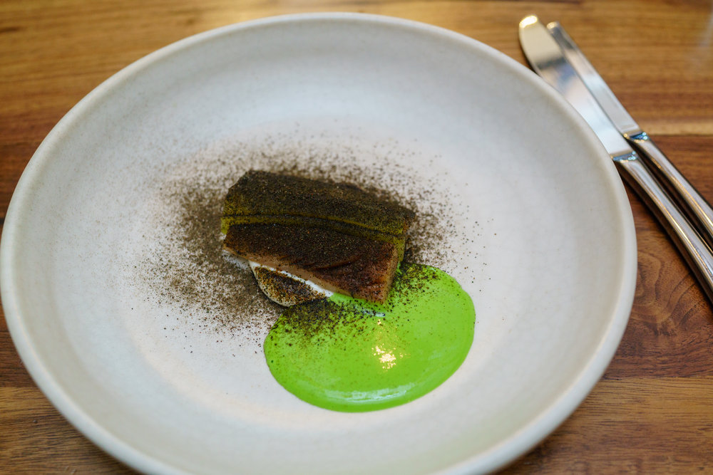 Moked Mackerel, Horseradish, Pickles, Green Pea Juice