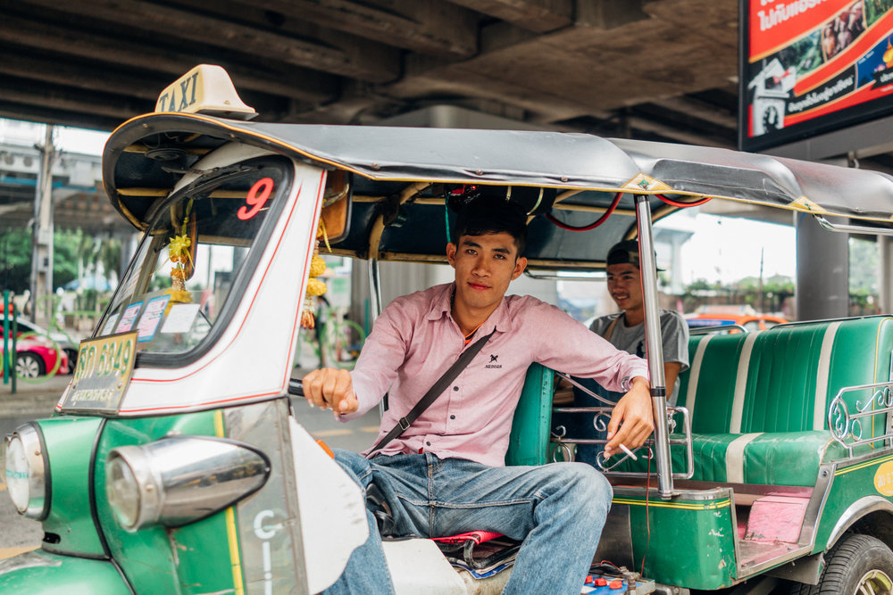 Stylish  tuk tuk . Negotiate your fare before taking off.