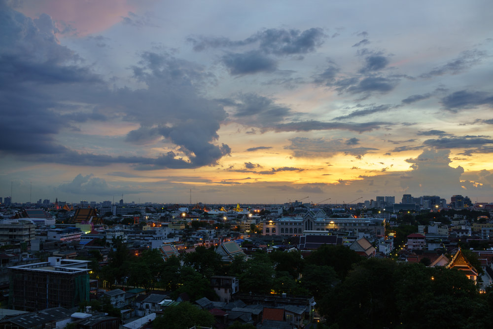 Sun setting over Bangkok