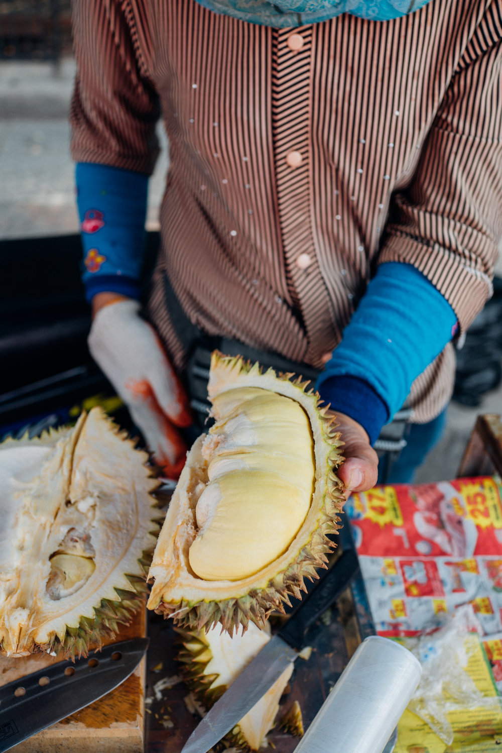 The golden yellow flesh on a Monthong durian