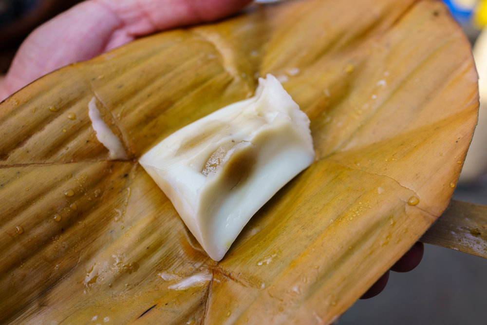 A sweet treat inside a banana leaf