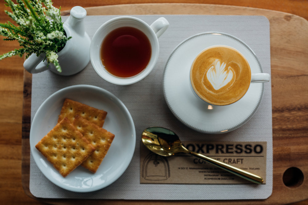 Elaborate serving of coffee at Roxpresso Coffee Craft