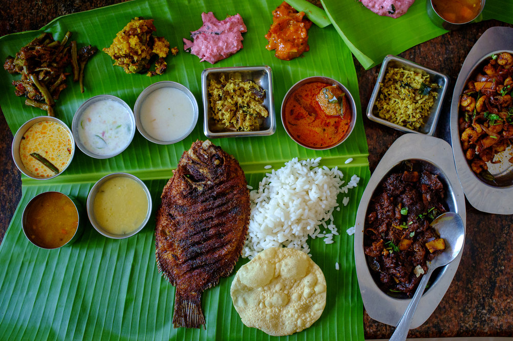 A lunch sadhya, which included karimeen