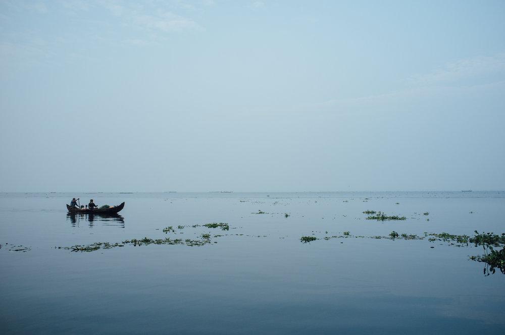 Vembanad Lake in Kerala, India