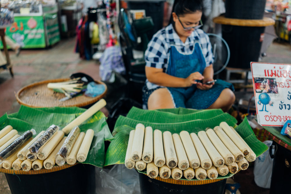 The sole  khao lam  vendor we found at Warorot Market in Chiang Mai