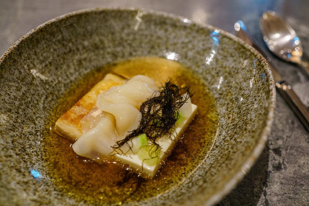 Mangalica pork, scallops, silken tofu at Whitegrass, Singapore