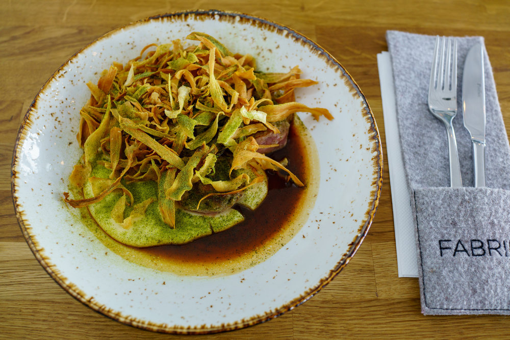 60°C Pork fillet, Celery Root, Parsnip, Madeira at Restoran Fabrik, Tallinn, Estonia
