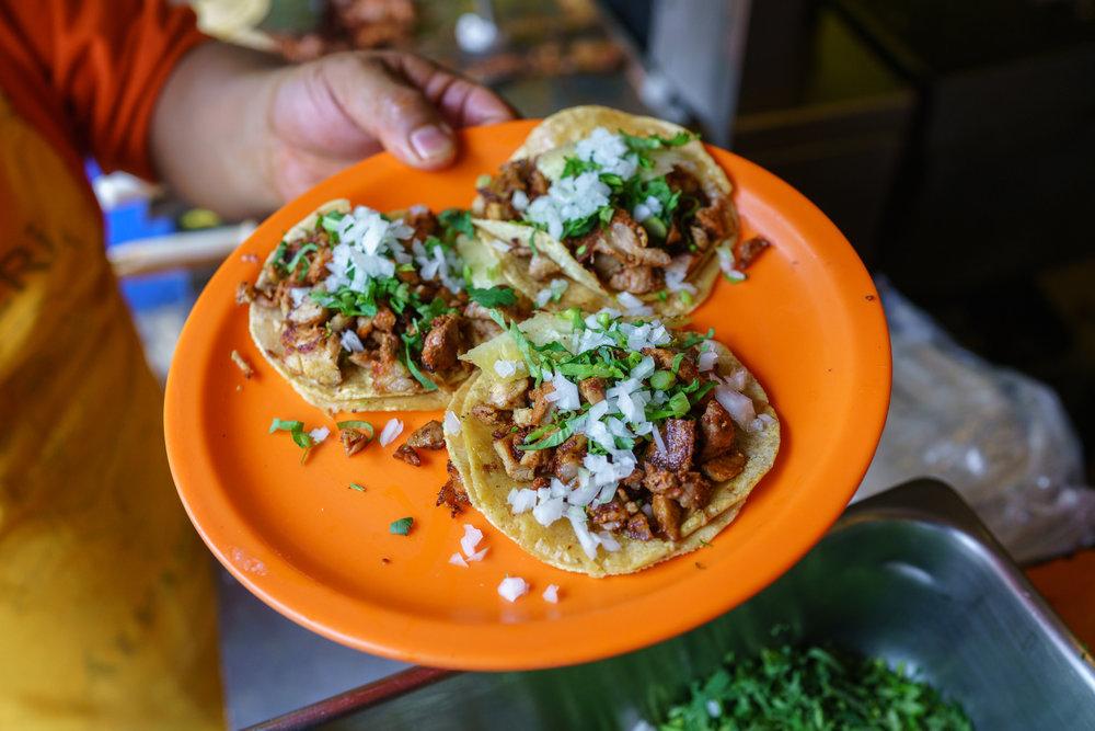Al pastor  tacos at Tacos Álvaro Obregón