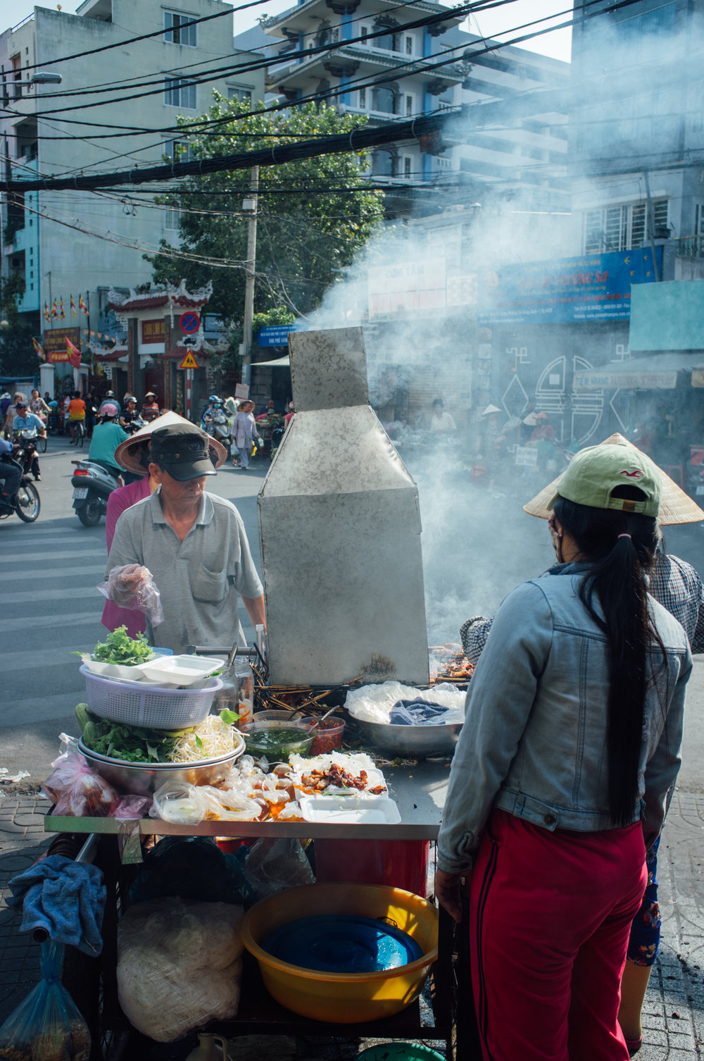 Bún Thịt Nướng smoking away