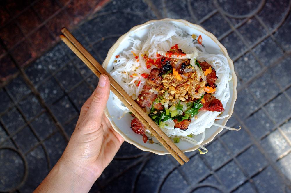 Bún Thịt Nướng on the streets of Ho Chi Minh City, Vietnam
