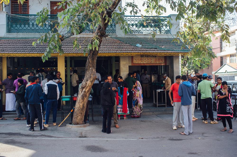 Morning scene outside Brahmin's in Basavanagudi in Bengaluru, India