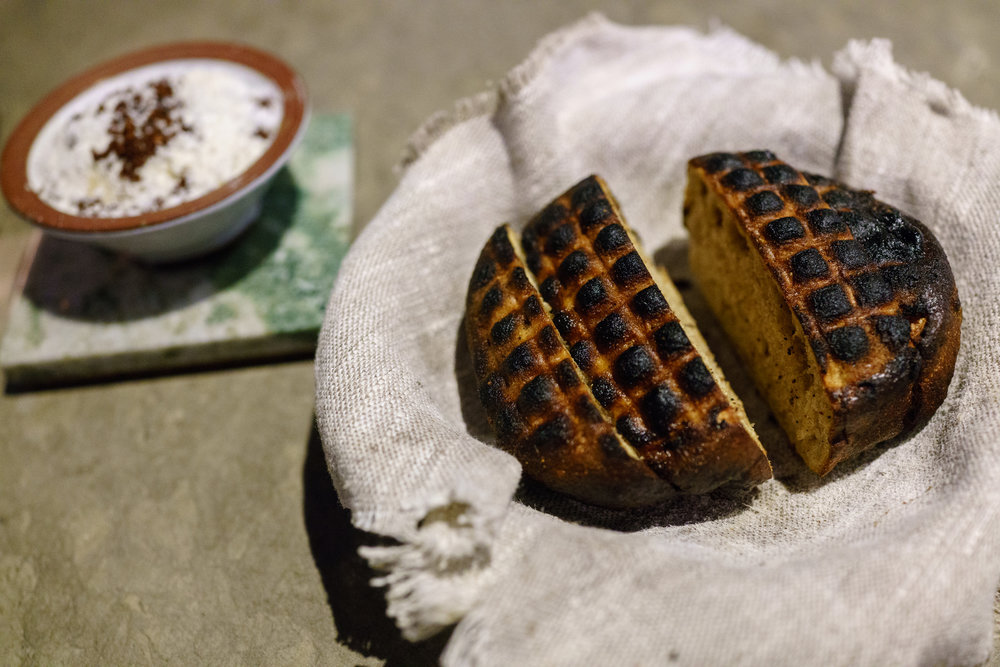 Grilled bread served with beurre noisette at Franzén in Stockholm
