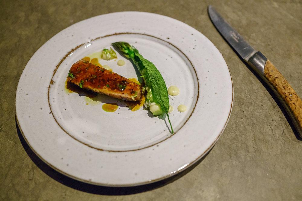 Spring lamb, glazed asparagus, ramson, algae and aged cheese at Frantzén in Stockholm