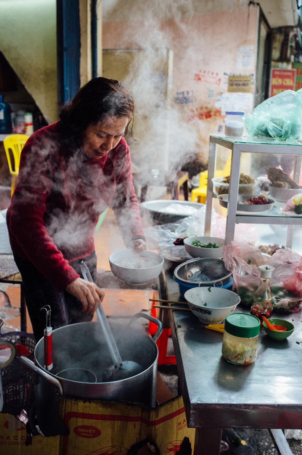 Phở Bò  on the streets of Hà Nội, Vietnam