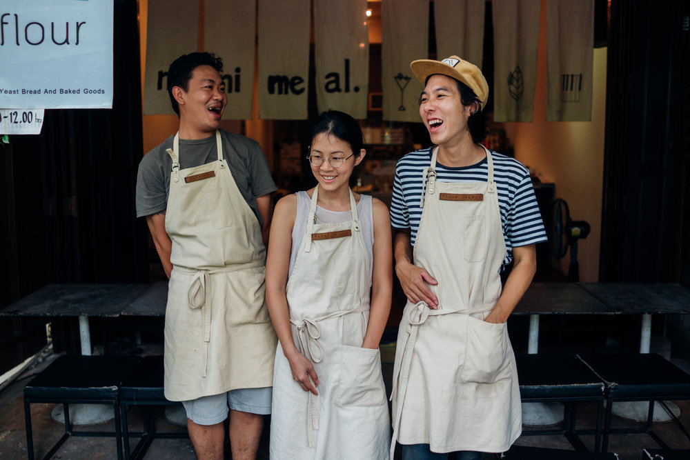 Boy, Namfon and Miles when they were still operating as a pop-up