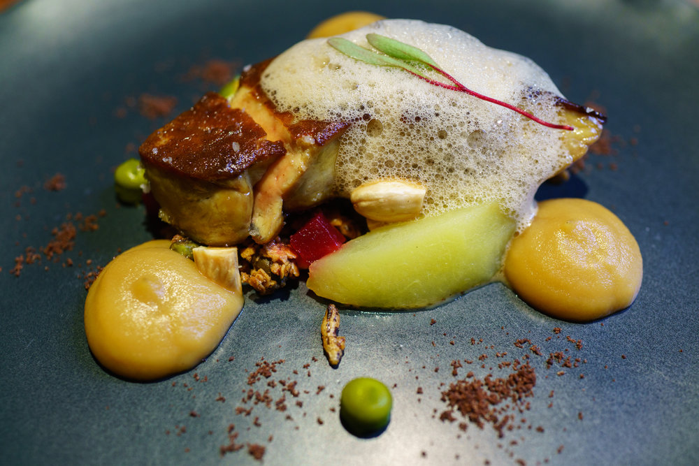 Seared foie gras, apple, granola, almond, coffee