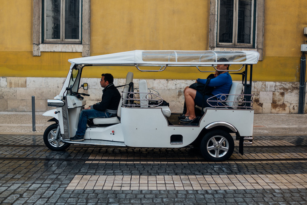 Tuk tuks  are a common sight in Lisbon, albeit mostly used by tourists