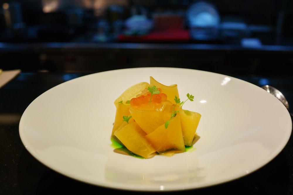 Salmon Tartare, Dill, Melon, Finger Lime