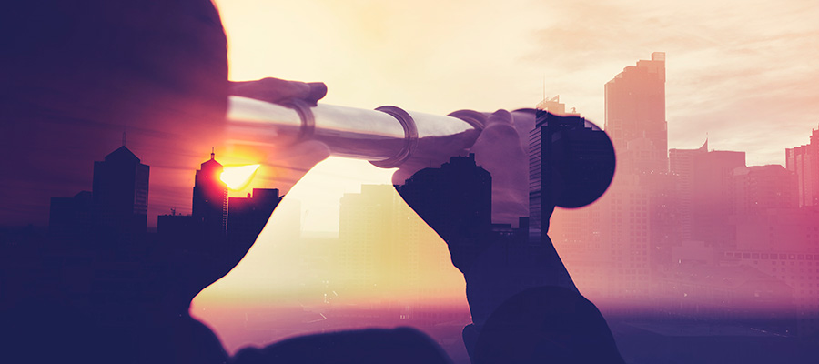 Telescope overlay on top of city skyline