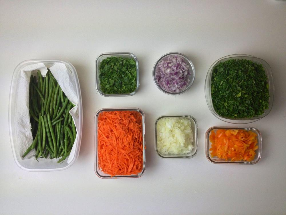 Sometimes I chop, shred, grate, or dice my veggies so they are easy to add to salads, wraps, eggs, soups, side dishes, etc.