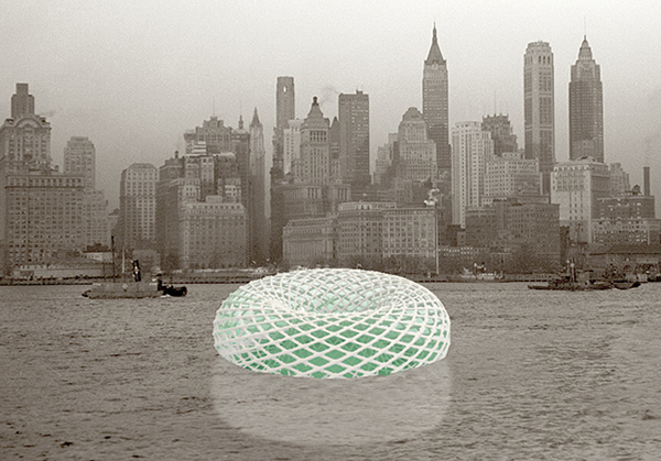 Conceptual rendering of Swale next to Manhattan.